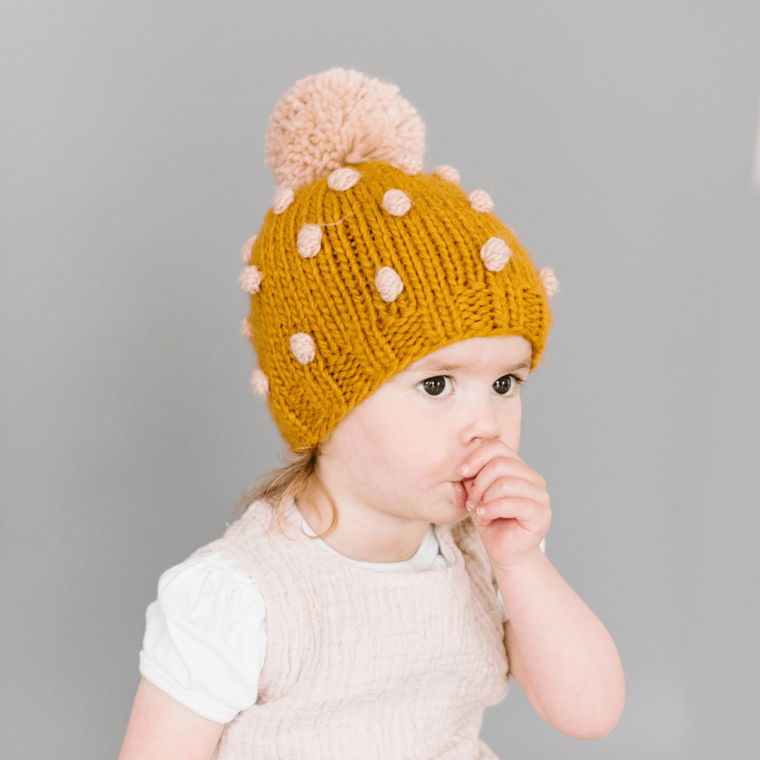 Mustard Popcorn Baby Hat with Pink Dots - Project Nursery