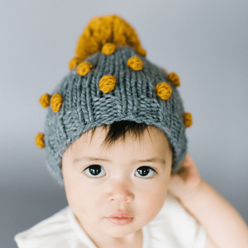 Grey Popcorn Baby Hat with Mustard Dots - Project Nursery