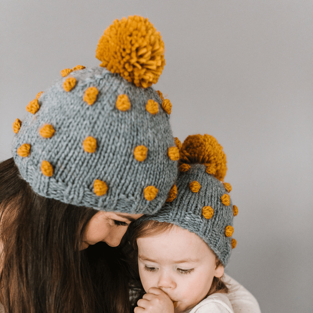 Women's Grey Popcorn Hat with Mustard Dots - Project Nursery
