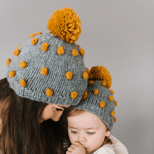 Women's Popcorn Dot Hat in Grey w/ Mustard Dots - Project Nursery