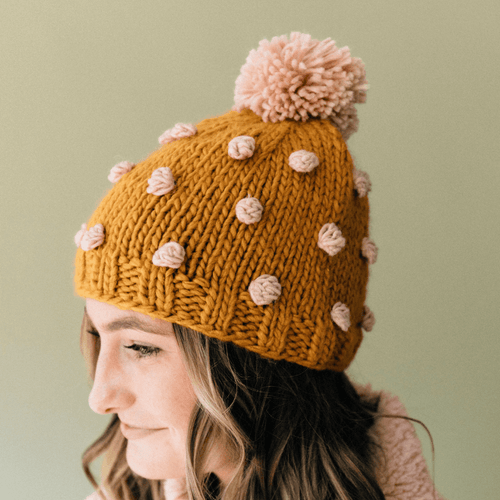 Women's Mustard Popcorn Hat with Pink Dots - Project Nursery