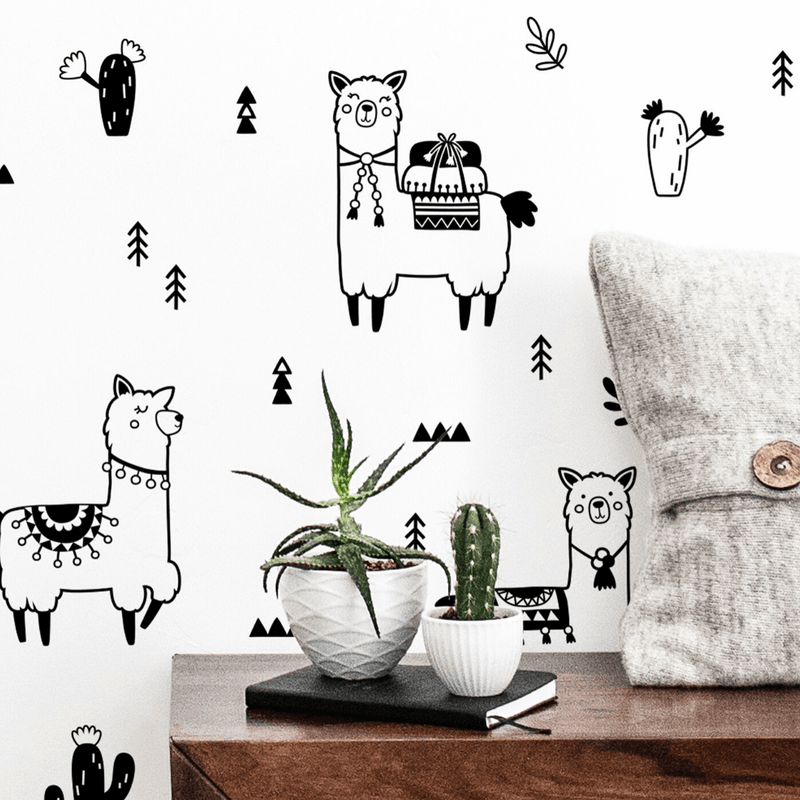 Alpaca Doodle Wall Decal Set - Choose Your Color - Project Nursery