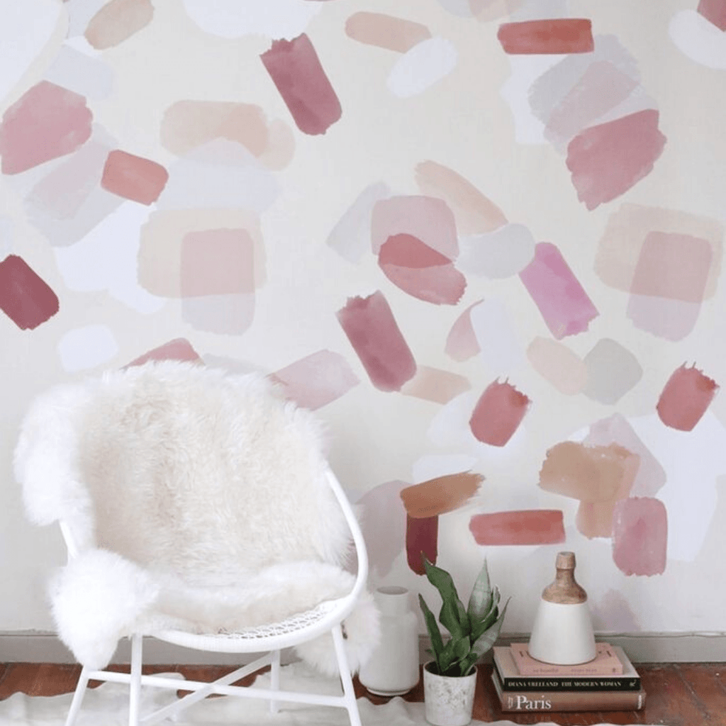 Large Pink Brush Strokes Wall Decals - Project Nursery