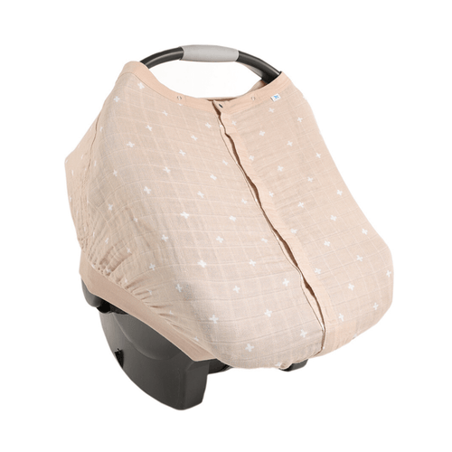 Cotton Muslin Car Seat Canopy - Taupe Cross - Project Nursery