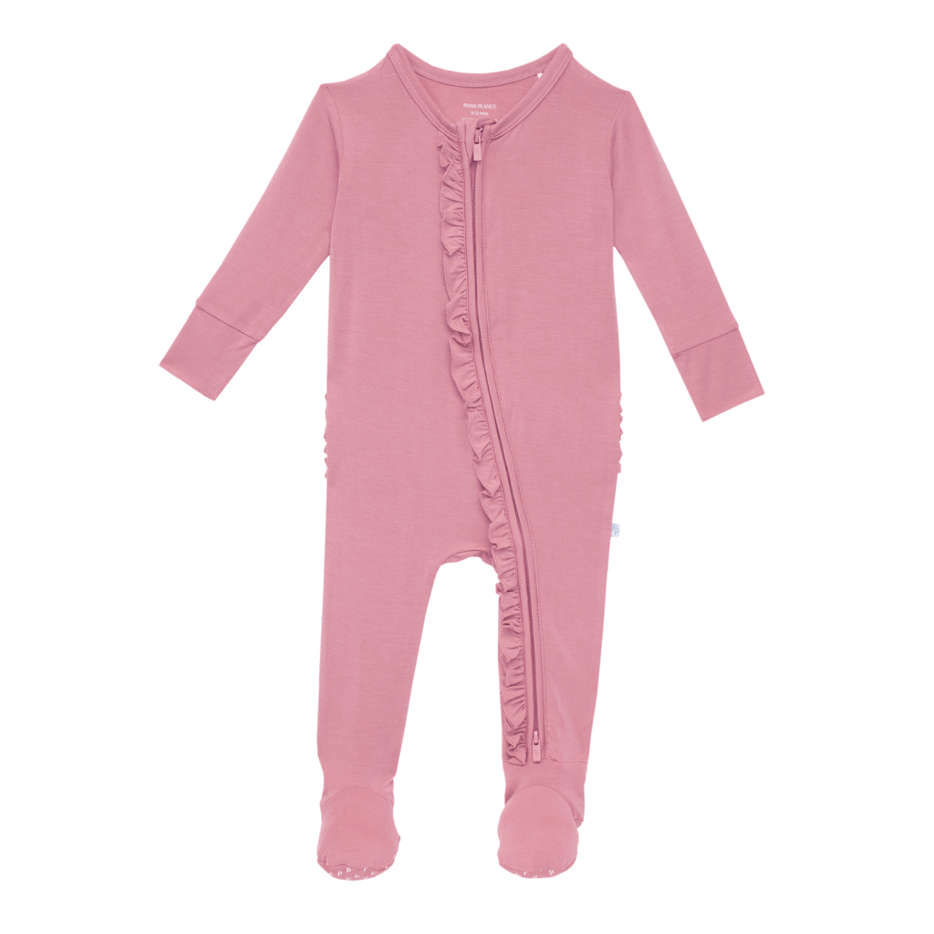 Solid Zippered Ruffle Footie - Dusty Rose - Project Nursery