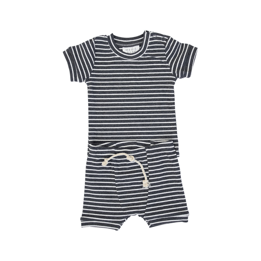 Charcoal Striped Ribbed Two-piece Short Set - Project Nursery