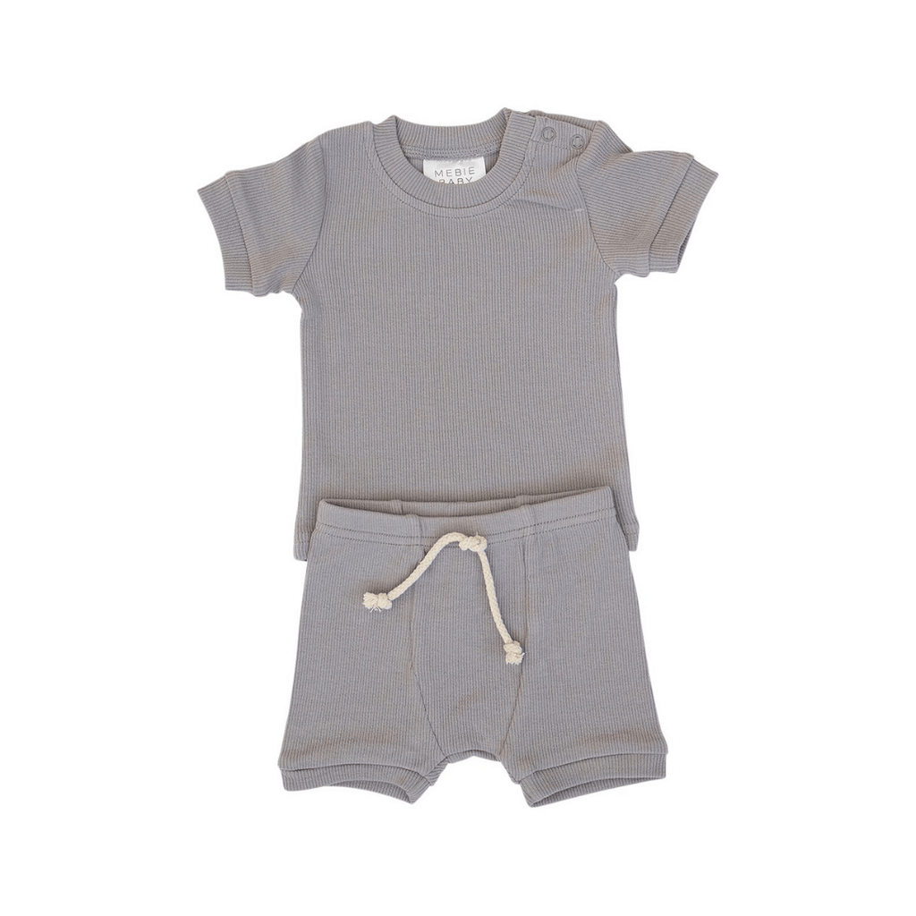 Grey Ribbed Two-piece Short Set - Project Nursery