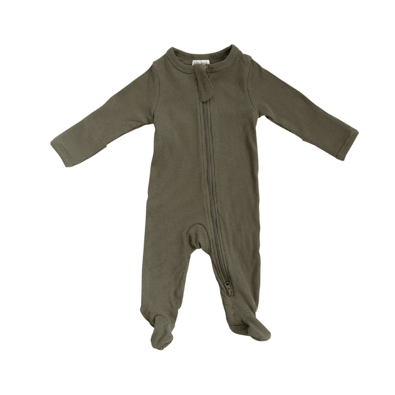 Winter Green Organic Cotton Ribbed Footed Zipper One-piece - Project Nursery