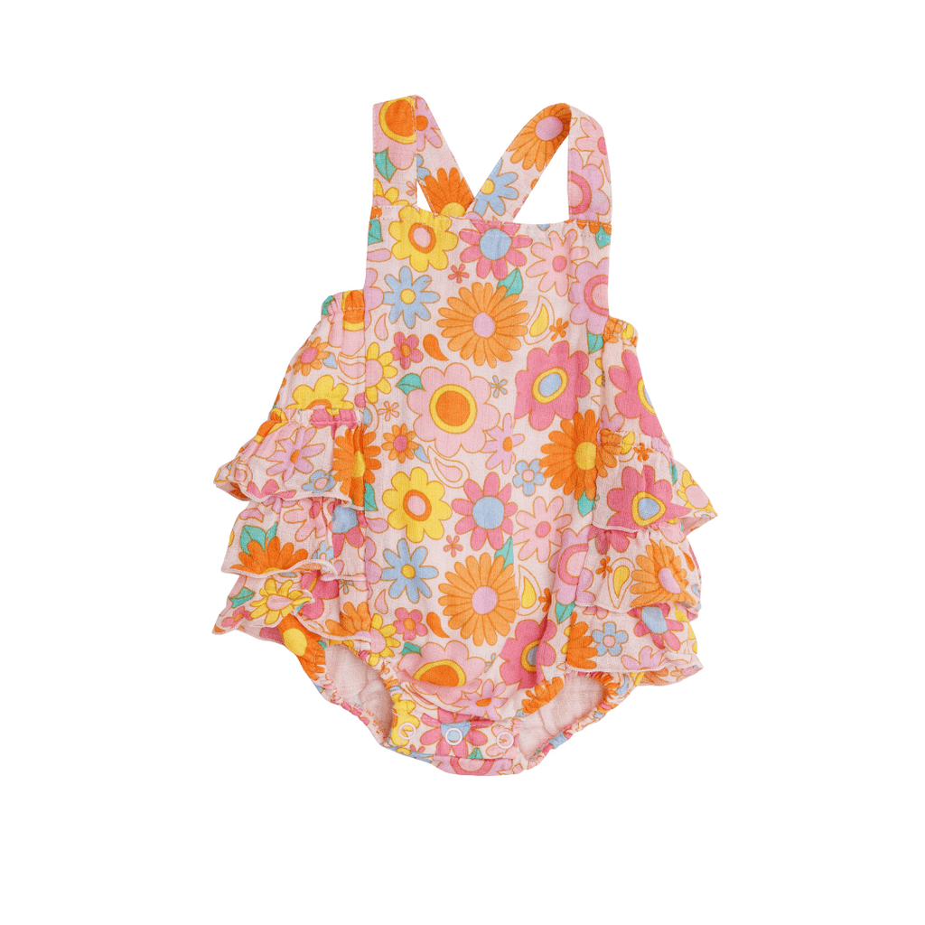Retro Daisy Ruffle Sunsuit - Project Nursery