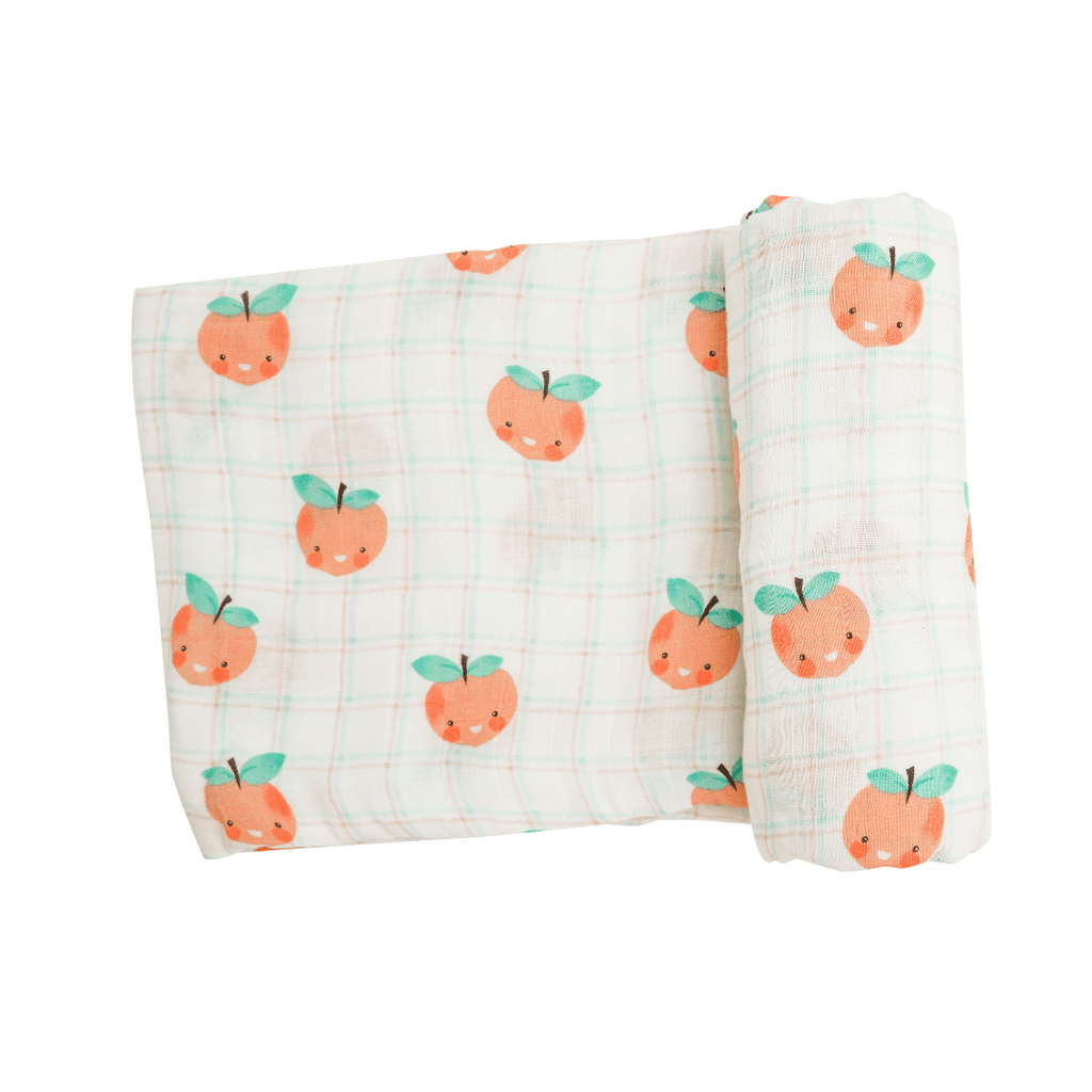 Plaid Peaches Swaddle Blanket - Project Nursery