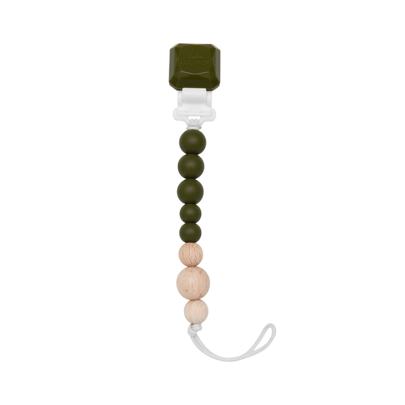 Color Pop Silicone + Wood Pacifier Clip - Avocado - Project Nursery
