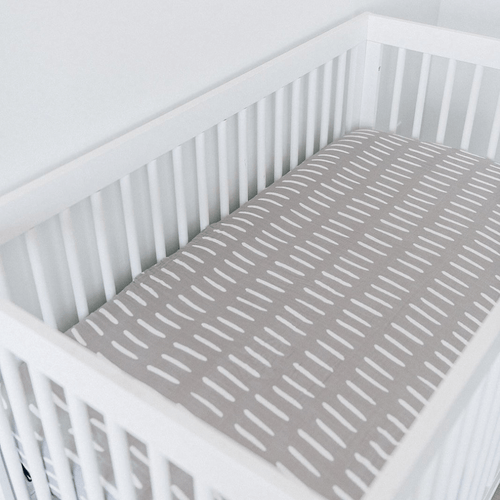 Gray Dash Muslin Crib Sheet - Project Nursery