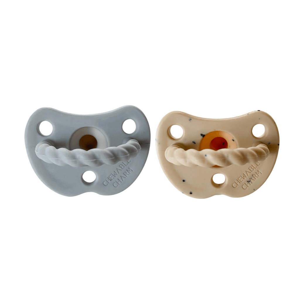 2 Pack Pacifier Twist - Gray + Tan Speckle - Project Nursery