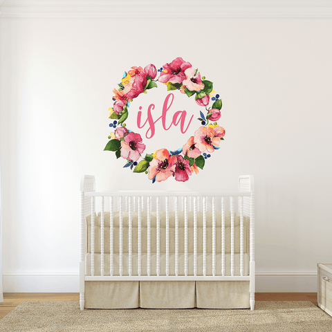 Pastel Pink Floral Wreath Individual Wall Decal