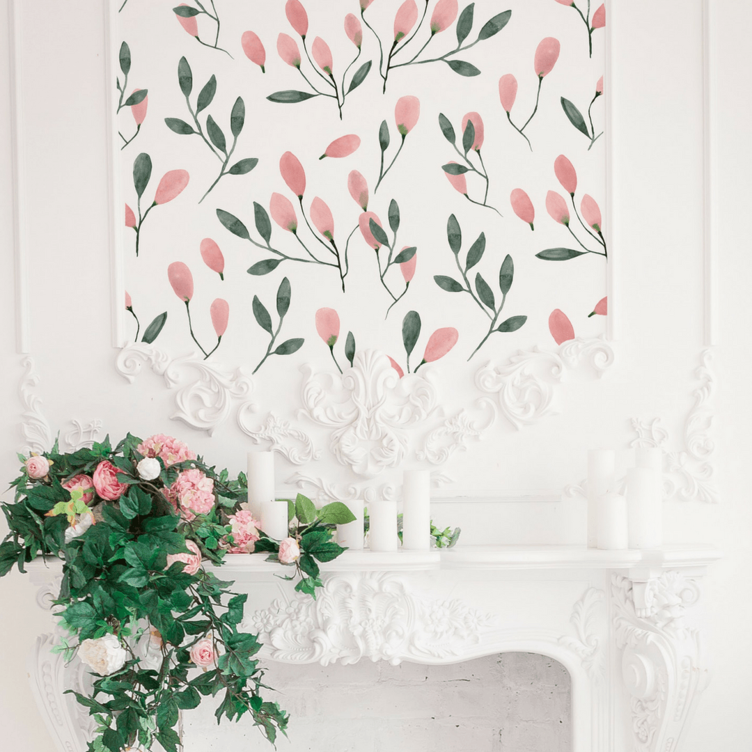 Soft Blush Floral Wall Decals