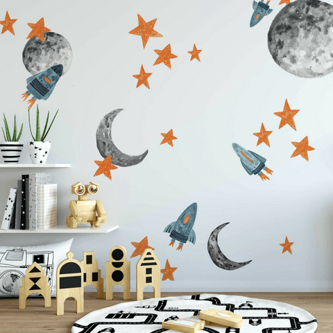 Blue Planets Wall Decals