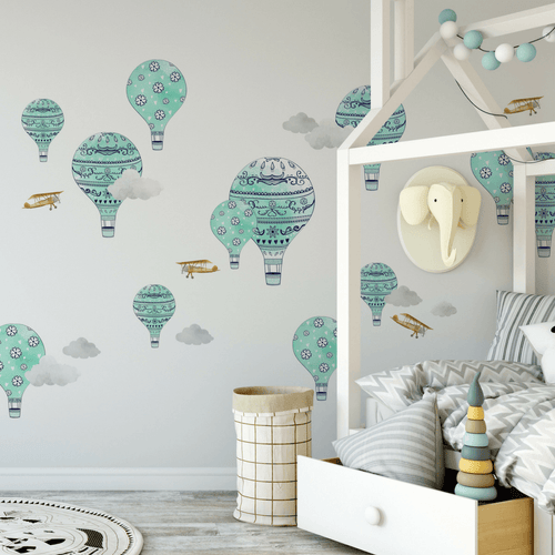 Kids wall decals project nursery hot air balloon wall decals teal gumiabroncs Images