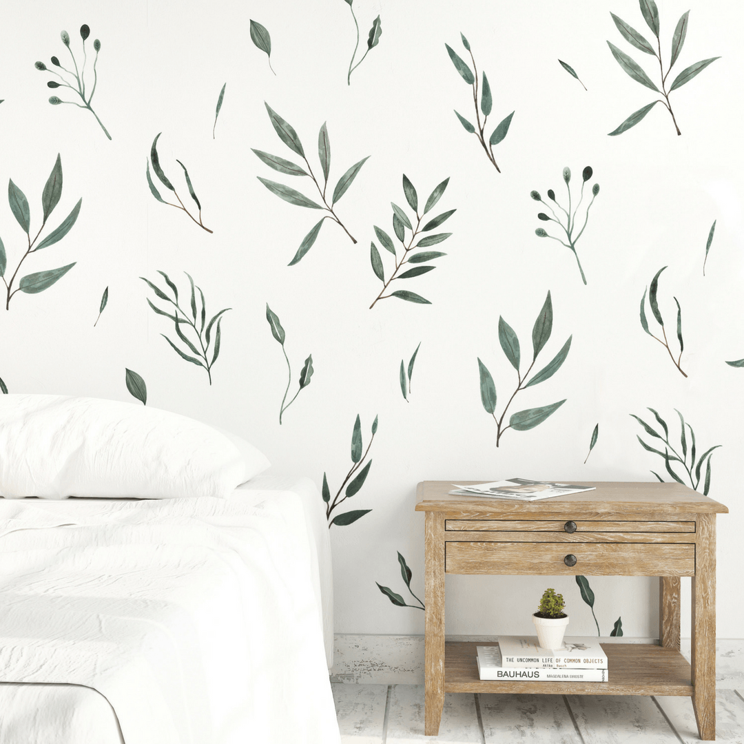 Watercolor Leaves Wall Decals