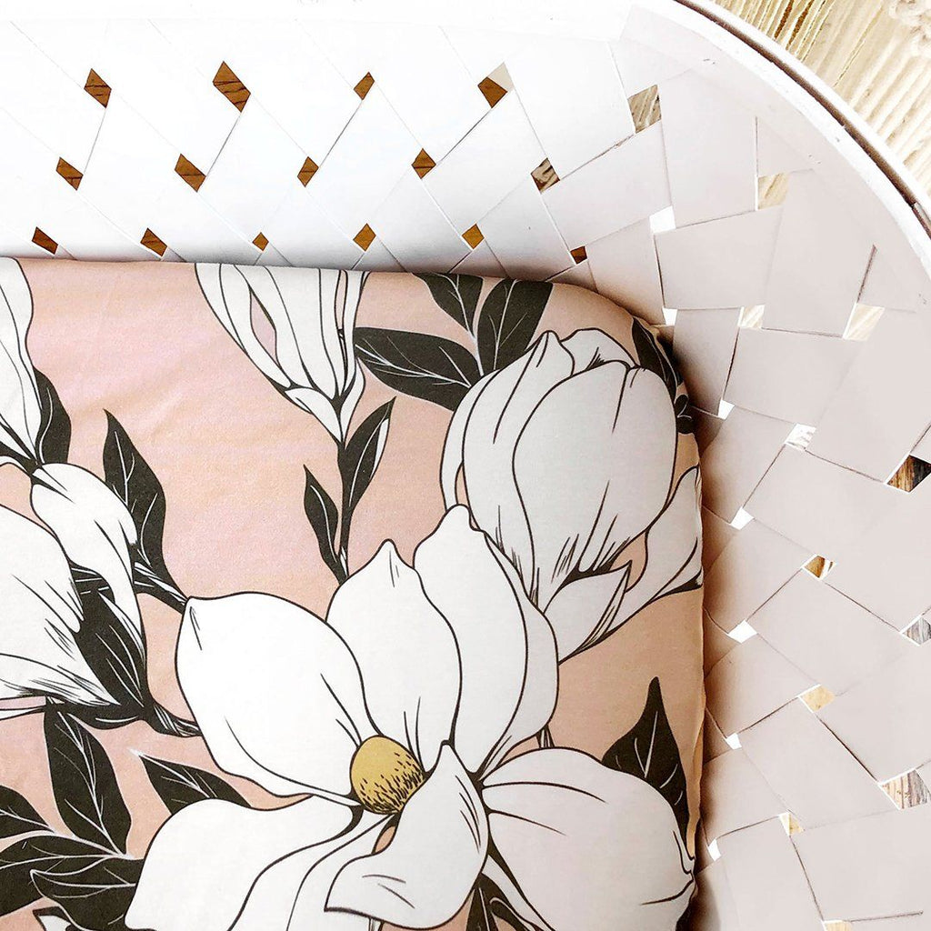 Magnolia Cotton Crib Sheet - Cantaloupe - Project Nursery