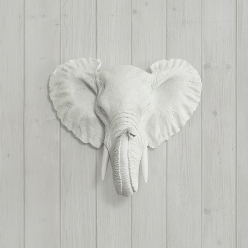 Mini Resin Elephant Head Wall Mount with Custom Tusks - Project Nursery