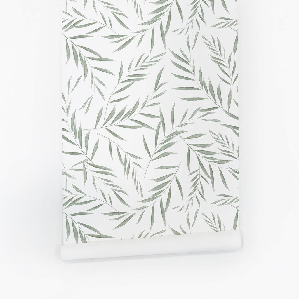 Light Green Botanical Foliage Wallpaper - Project Nursery