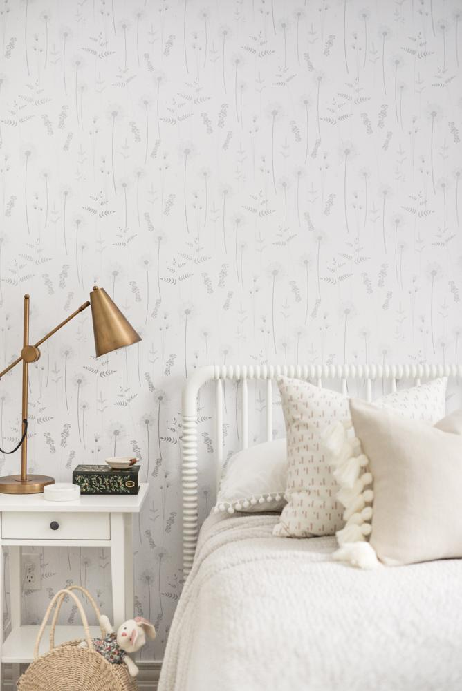 Grey Botanical Wildflower Wallpaper - Project Nursery