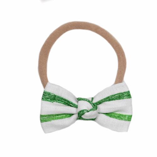 White + Green Stripe Petite Headband - Project Nursery