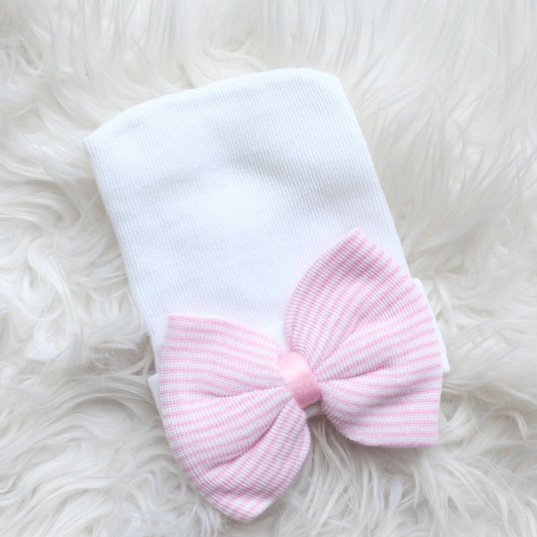 Newborn Hospital Hat - White with Pink Stripe Bow - Project Nursery
