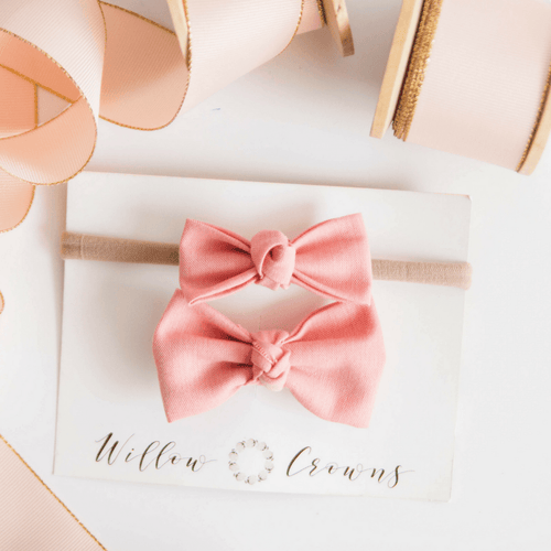 Blush Knotted Sister Bow Set - Project Nursery