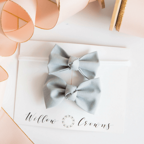 Gray Knotted Sister Bow Set - Project Nursery