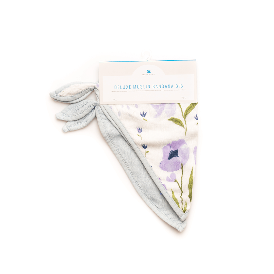 Deluxe Muslin Bandana Bib Set in Blue Windflower - Project Nursery