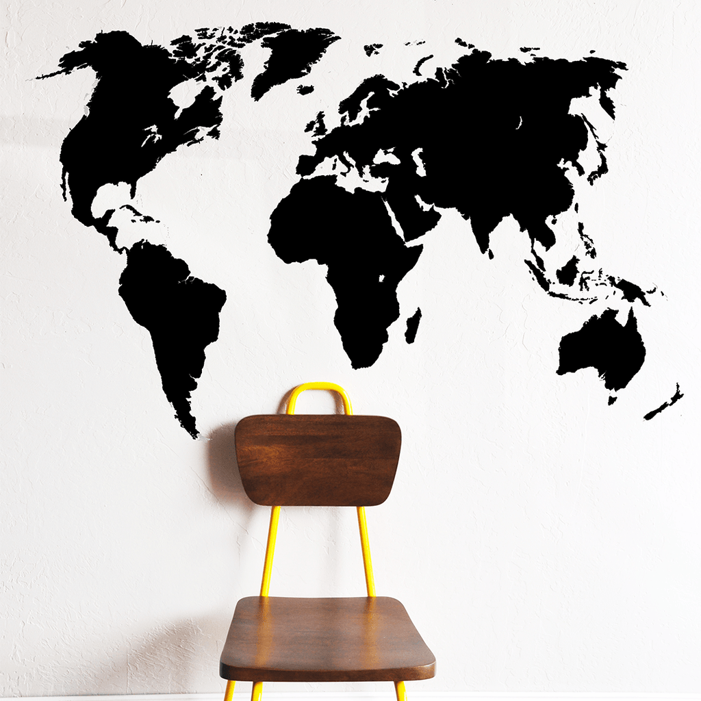 World Map Wall Decal Black - The Project Nursery Shop - 1