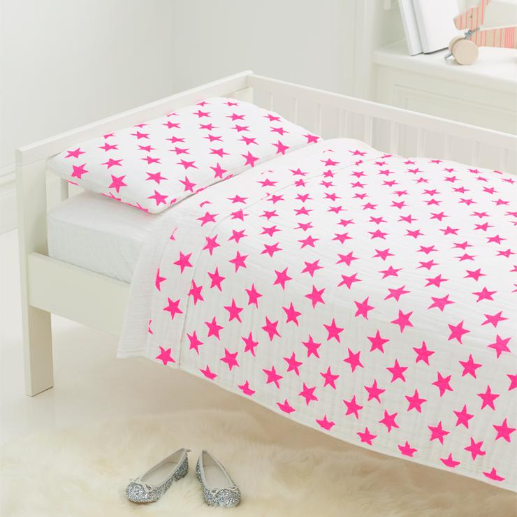 Toddler Bed In A Bag In Pink Fluro Stars