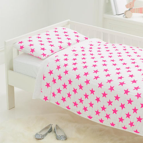 Toddler Bed in a Bag in Pink Fluro Stars - Project Nursery