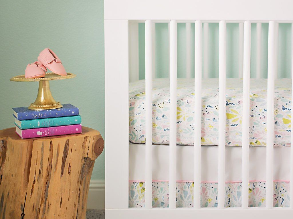 Pink Woodland Crib Sheet