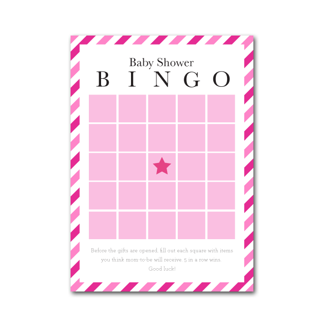 baby shower bingo in candy stripes shop project nursery