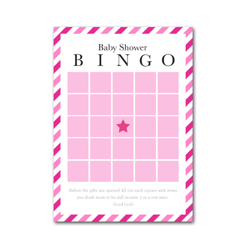 Baby Shower Bingo in Candy Stripe - Project Nursery