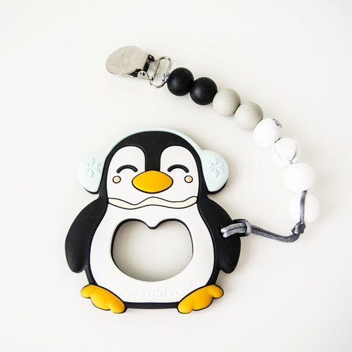 Black Penguin Teether with Clip - Project Nursery