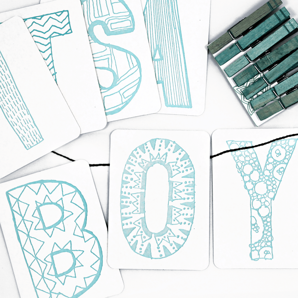 It's a Boy Letterpress DIY Banner Kit  - The Project Nursery Shop - 1
