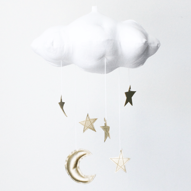 White Cloud & Moon Mobile in Gold - Project Nursery