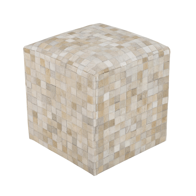 Cowhide Pouf in Ivory  - The Project Nursery Shop