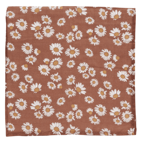 Clay Brown Daisy Swaddle Blanket - Project Nursery