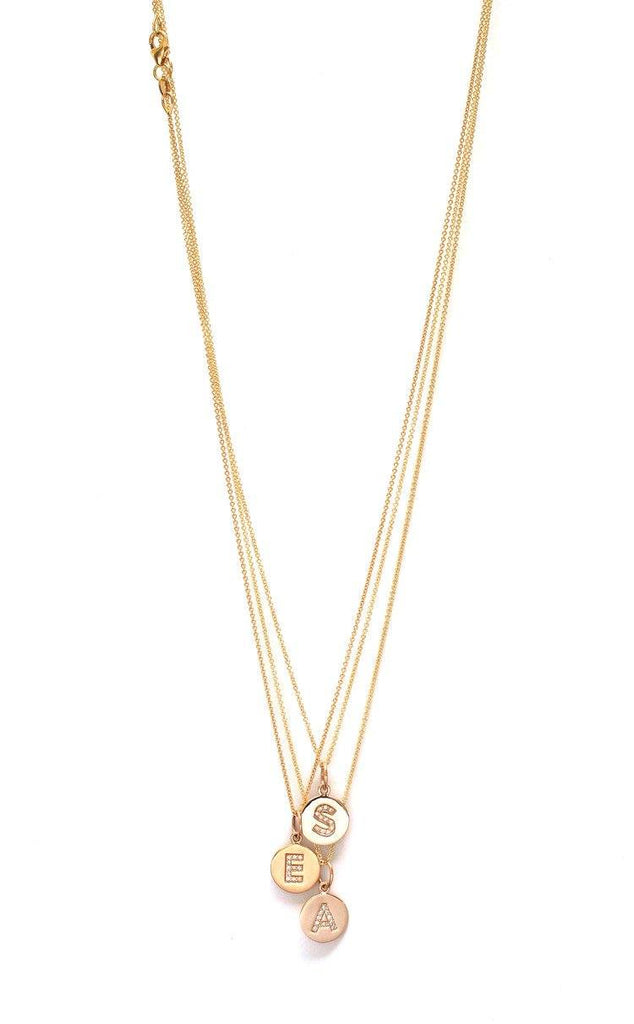 Pavé Diamond Initial Disc Necklace  - The Project Nursery Shop - 2