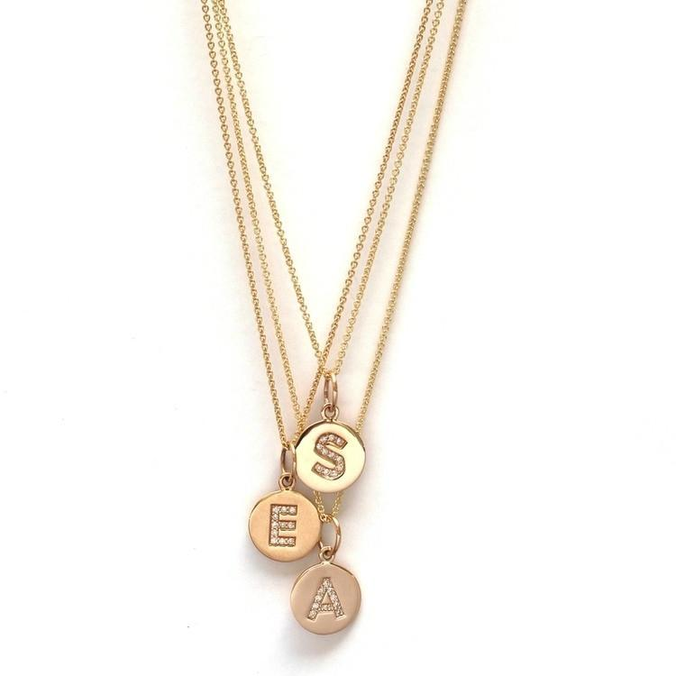 Pavé Diamond Initial Disc Necklace - Project Nursery