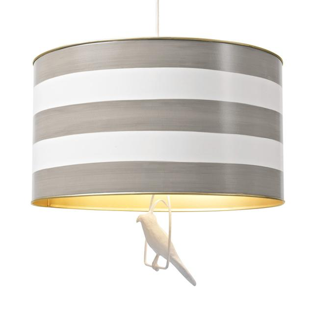 Tin Hanging Lamp in Gray Stripe  - The Project Nursery Shop