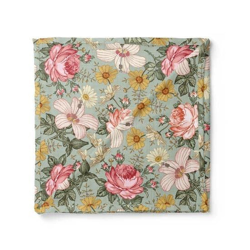 Garden Floral Swaddle Blanket - Sea Foam - Project Nursery