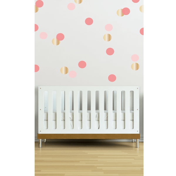 Marion S Coral And Gold Polka Dot Nursery: Confetti Wall Decals In Coral