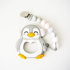 Gray Penguin Teether with Clip - Project Nursery