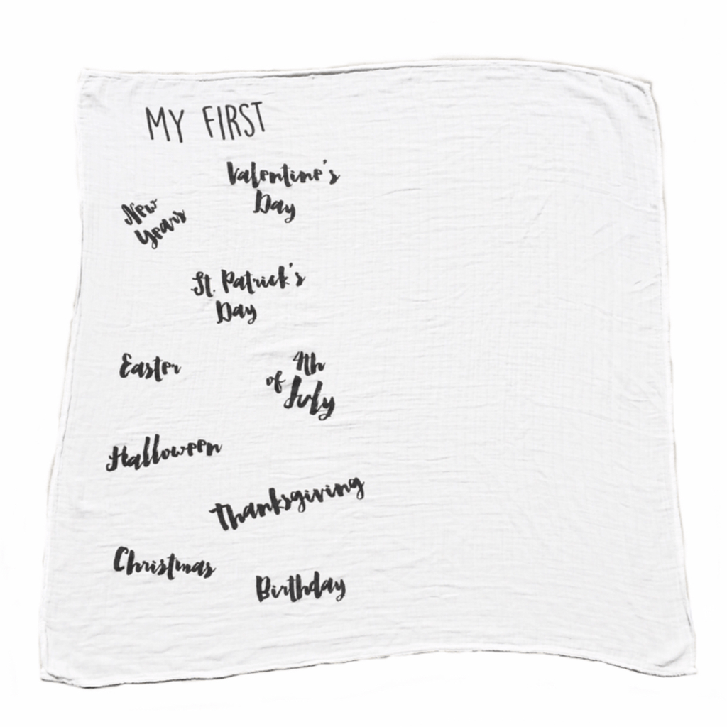 """My First"" Holiday Cotton Muslin Swaddle Blanket  - The Project Nursery Shop - 1"