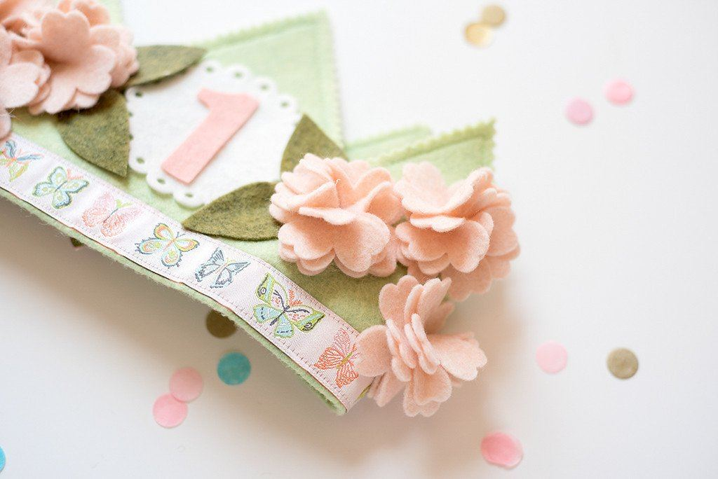 Shabby Cherry Blossom 1st Birthday Crown  - The Project Nursery Shop - 2